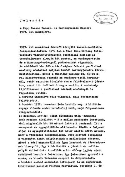 Jelentés a Papp Ferenc Karszt- és Barlangkutató Csoport 1973. évi munkájáról