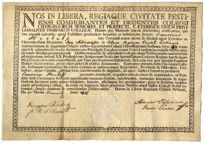 Sebészi vizsgaoklevél Herbály Imre részére, 1831