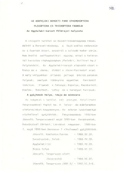 Az Aggteleki Nemzeti Park Ephemeroptera Plecoptera és Trichoptera faunája