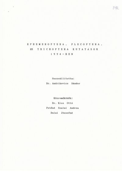 Ephemeroptera, Plecoptera és Trichoptera kutatások 1994-ben