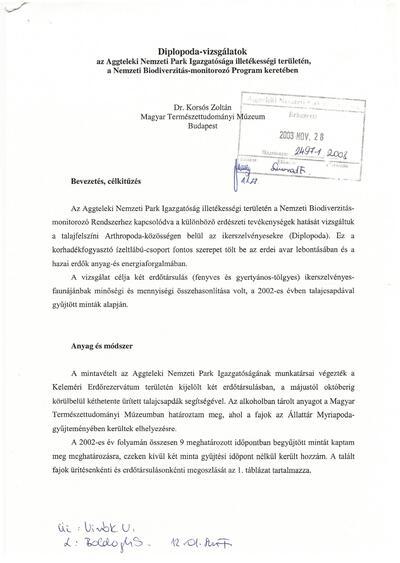 Diplopoda-vizsgálatok az Aggteleki Nemzeti Park Igazgatósága illetékességi területén, a Nemzeti Biodiverzitás-monitorizó Program keretében