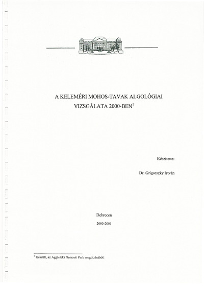 A Keleméri Mohos-tavak algológiai vizsgálata 2000-ben
