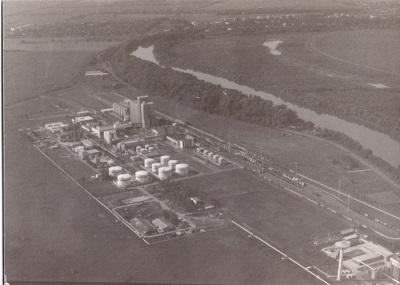 Martfűi Növényolajgyár, Tisza és Martfű légi felvételen