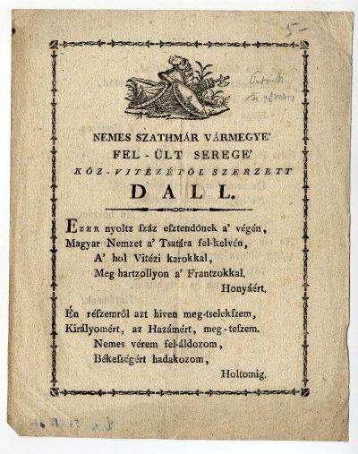 Szatmár vármegyei közvitéz dala, 1809