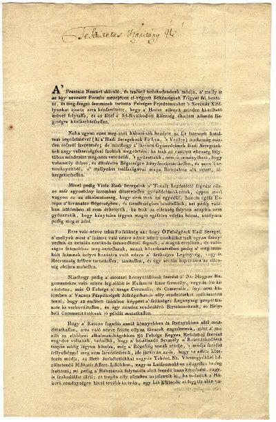 Újoncozási körlevél Irsai Szabó Mózes kapitány részére kitöltve, 1799