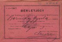 Bérletjegy az Országos Kiállításra, Berinkey Gyula, 1885