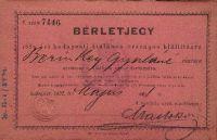 Bérletjegy az Országos Kiállításra, Berinkey Gyuláné, 1885
