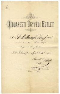 Bellaagh József a Budapesti Ügyvédi Egylet rendes tagja, 1870