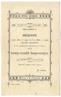 Meghívó a Budai Zenekör tizennyolcadik hangversenyére, 1900. máj. 7.