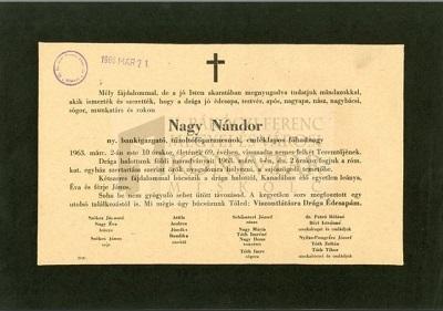 Nagy Nándor gyászjelentése