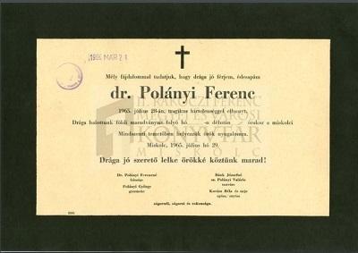 Dr. Polányi Ferenc gyászjelentése