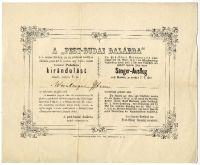 A Pest-Budai Dalárda kirándulása Palotára, meghívó Weinberger István részére, 1858