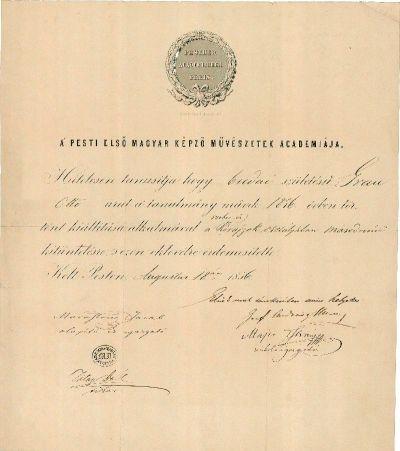 A Pesti Első Magyar Képző Művészetek Academiája kitüntető oklevele Gran Ottó részére, 1856
