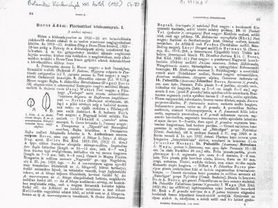 Boros Ádám: Florisztikai közlemények I.
