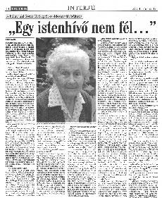 Egy istenhívő nem fél... - újságcikk, interjú Brandeisz Elzával