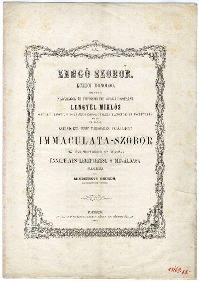 Mindszenty Gedeon verse az Immaculata-szobor felavatására, 1867