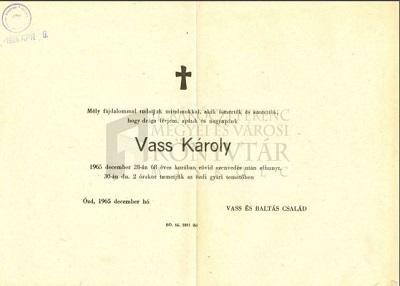 Vass Károly gyászjelentése