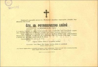 özv. id. Petrasovszky Leóné gyászjelentése