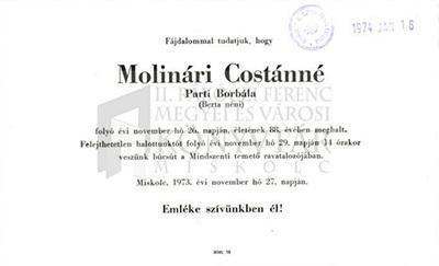 Molinári Costánné gyászjelentése