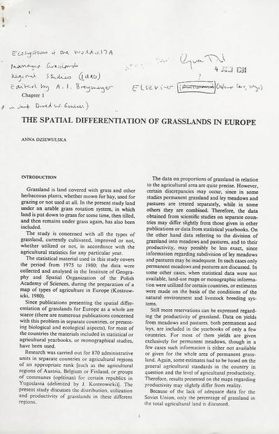 The spatial differentiation of Grasslands in Europe