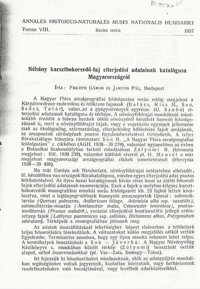 Néhány karsztbokorerdő-faj elterjedési adatainak katalógusa Magyarországról