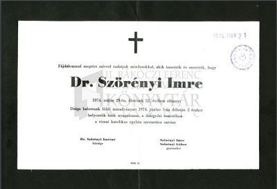 Dr. Szörényi Imre gyászjelentése