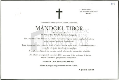 Mándoki Tibor gyászjelentése