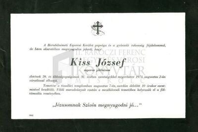 Kiss József gyászjelentése