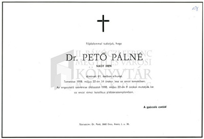Dr. Pető Pálné gyászjelentése