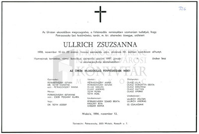 Ullrich Zsuzsanna gyászjelentése