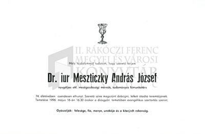 Dr. iur Meszticzky András József gyászjelentése