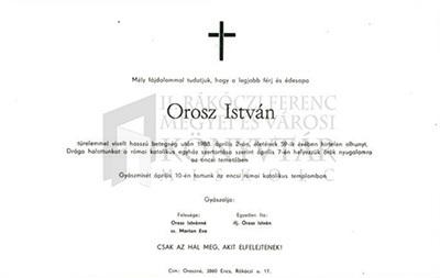Orosz István gyászjelentése