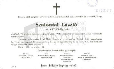 Szalontai László gyászjelentése