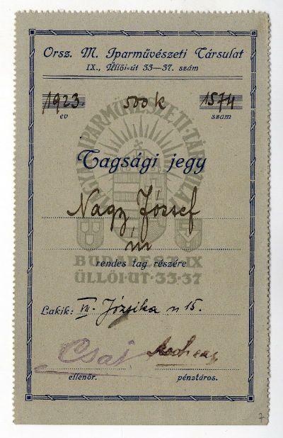 Az Országos Magyar Iparművészeti Társulat tagsági jegye, Nagy József, 1923