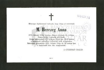 M. Herczeg Anna gyászjelentése
