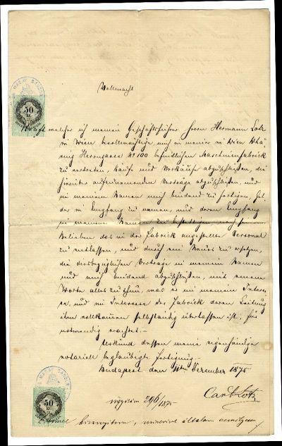 Lotz Károly meghatalmazza Lotz Hermannt, hogy bécsi gyárában őt teljhatalmúan képviselje, 1875