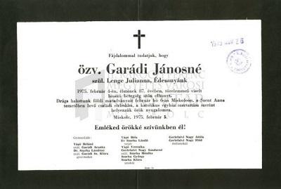 özv. Garádi Jánosné gyászjelentése