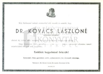 Dr. Kovács Lászlóné gyászjelentése
