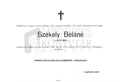 Székely Béláné gyászjelentése