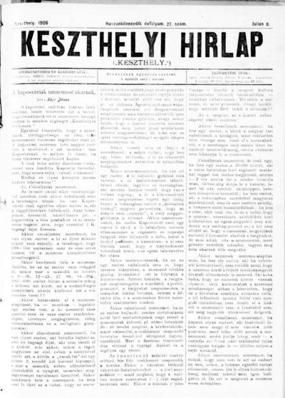 Keszthelyi Hírlap 1906.07.08.