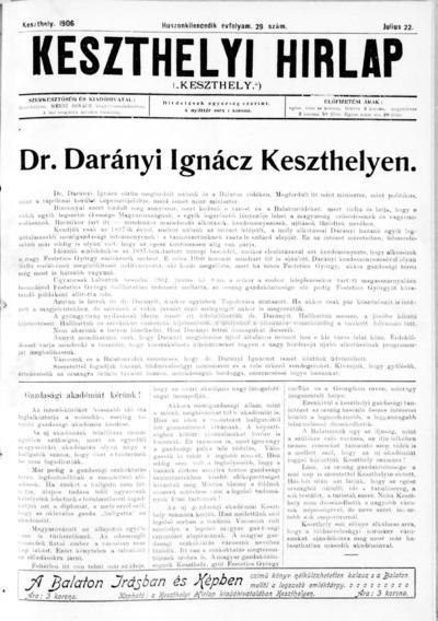 Keszthelyi Hírlap 1906.07.22.