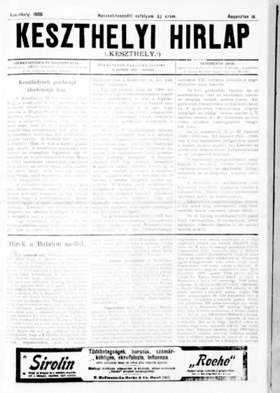 Keszthelyi Hírlap 1906.08.19.