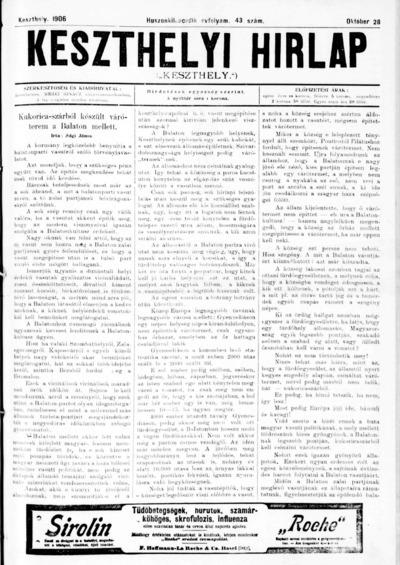 Keszthelyi Hírlap 1906.10.28.