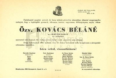 özv. Kovács Béláné gyászjelentése