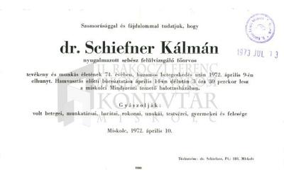 dr. Schiefner Kálmán gyászjelentése