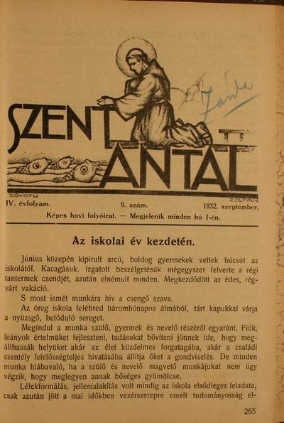 Szent Antal 1932. szeptember