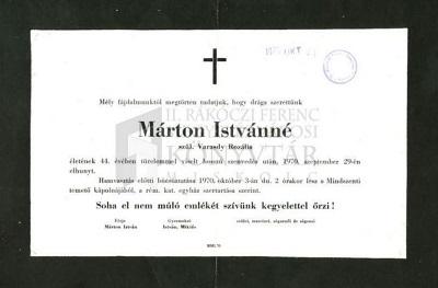 Márton Istvánné gyászjelentése