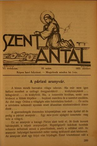 Szent Antal 1933. október