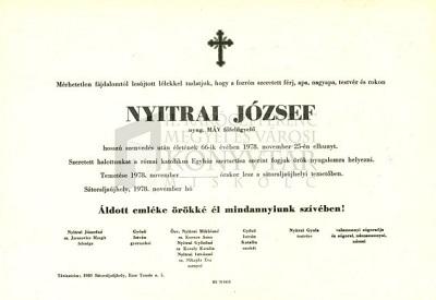 Nyitrai József gyászjelentése