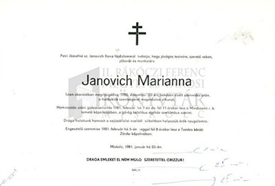 Janovich Marianna gyászjelentése
